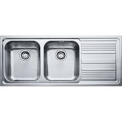 Franke Llx 621 116 x 50 built-in sink 2 bowls with right drip - stainless steel Logica Line