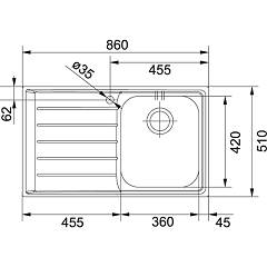 Franke built-in sink NEX 611 - technical drawing