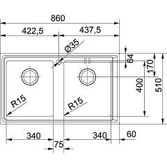 Franke built-in sink NPX 620 - technical drawing