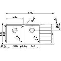 Franke built-in sink NPX 621 - technical drawing