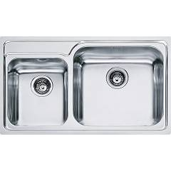 Franke Gax 620 86 x 50 built-in sink 2 bowls - satin stainless steel Galassia