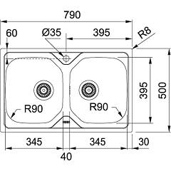 Franke built-in sink OLL 620 - technical drawing