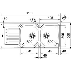 Franke built-in sink OLL 621 - technical drawing