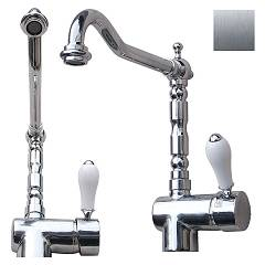 Geda Kt29 Single lever kitchen mixer - brushed nickel Antico