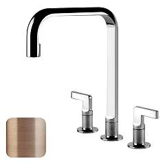 Gessi 58701.708 Brushed copper three-hole kitchen tap Inciso