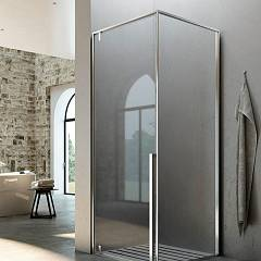 Glass Kahuri Kc+kl Corner box cm. 80 x 80 extensibility cm. 76.5 - 79 x 76.5 - 79 1 hinged door h 210 + fixed side