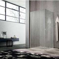 Glass Lula Uw+ul Corner box cm. 70 x 80 extensibility cm. 66.5 - 69 x 77.5 - 79 1 swing door + fixed side h 190