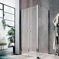 Glass Lula Ug+ut Corner box cm. 90 x 90 extensibility cm. 86 - 91 x 87.5 - 89 2 saloon doors + fixed side h 190