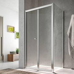 Glass Isy Ij+ih Corner box cm. 80 x 100 extensibility cm. 76 - 81 x 96.5 - 99 1 bellow door + fixed side h 195