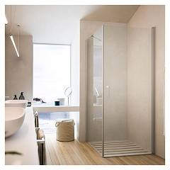 Glass Soho Mw+ml Corner box cm. 80 x 100 extensibility cm. 77.5 - 79 x 97.5 - 99 1 pivoting door + fixed side h 195
