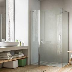 Glass Soho Md+ml Corner box cm. 80 x 80 extensibility cm. 77.5 - 79 x 77.5 - 79 1 pivoting door + fixed side h 195