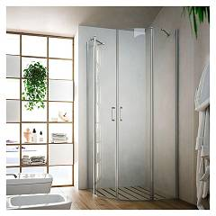 sale Glass Soho Mr Box Corner Semi-circular Cm. 80 X 80 Extensibility Cm. 77,5 - 79 2 Door Saloon Radius Cm. 55