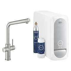 Grohe 31454dc1 Sink tap with water filter system - super steel Blue Home
