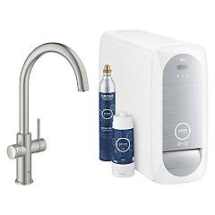Grohe 31455dc1 Sink tap with water filter system - super steel Blue Home
