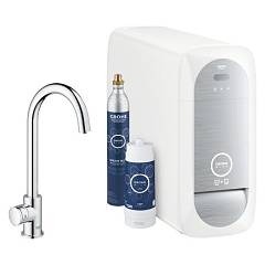 Grohe 31498001 Sink tap + faucet with mono-chrome water filtering system Blue Home Mono