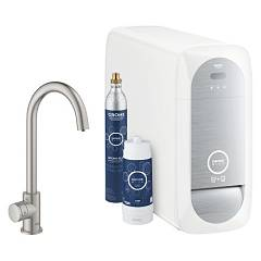 Grohe 31498dc1 Sink tap + faucet with mono-super steel water filtering system Blue Home Mono