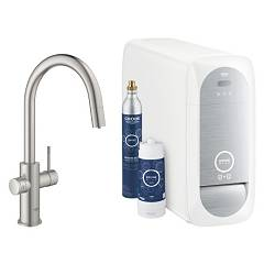Grohe 31541dc0 Sink tap with water filter system - super steel Blue Home