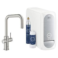 Grohe 31543dc0 Sink tap with water filter system - super steel Blue Home