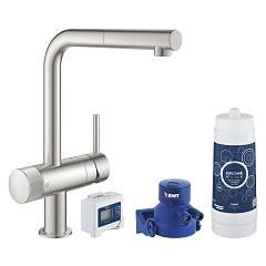 Grohe 30382dc0 Kitchen tap water filtered - super steel Blue Pure Minta