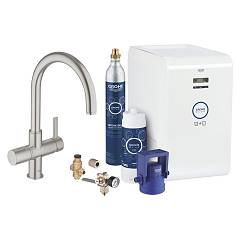 Grohe 31 323 Dc1 Kitchen mixer with water filtering system - super steel monocomando Blue Professional