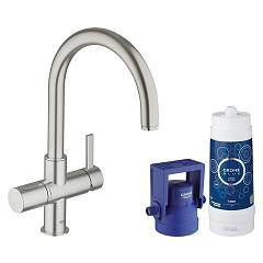 Grohe 33 249 Dc1 Kitchen mixer with water filtering system - super steel monocomando Blue Pure