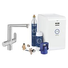 Grohe 31 346 Dc1 Kitchen mixer with water filtering system - super steel monocomando Blue Professional