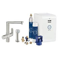 Grohe 31355dc1 - Grohe Blue K7 Kitchen mixer tap with hand shower with filter system water - super steel single-control Blue K7