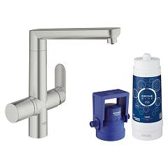Grohe 31 344 Dc1 Kitchen mixer with water filtering system - super steel monocomando Blue K7