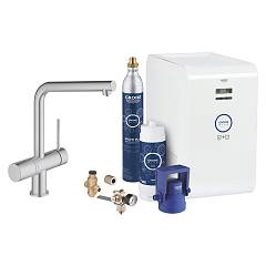 Grohe 31 347 Dc2 Kitchen mixer with water filtering system - super steel monocomando Blue Professional