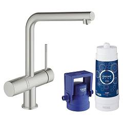 Grohe 31 345 Dc2 Kitchen mixer with water filtering system - super steel monocomando Blue Pure