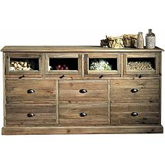 Guarnieri Liquirizia Old pine chest of drawers 168 x 88 x 50 - 6 drawers and 4 glazed boxes