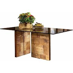 Guarnieri Zenzero Fixed table 180 x 78 x 90 - inlaid old elm structure hand-colored and glass top