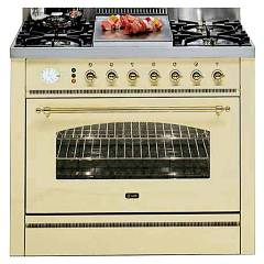 Ilve P90fnvg - Nostalgie Kitchen to approach cm. 90 fires + 4 + 1 fry top gas oven Nostalgie