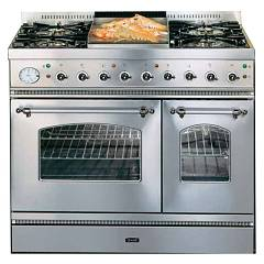 Ilve Pd90fnvg - Nostalgie Kitchen to approach cm. 90 4 burners + fry-top + 1 gas oven + mini electric oven Nostalgie