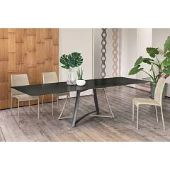 Ingenia Casa Big Bang Fixed / extendable table with lacquered steel structure and glass top wood | ceramic | marble