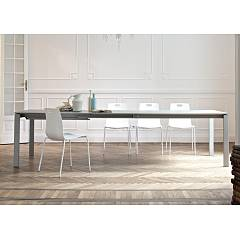 Ingenia Casa Reid Extendable table 140 x 75 x 90 with lacquered steel structure and melamine top laminate | crystal | ceramic | marble