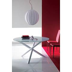 Ingenia Casa Trio Fixed / extendable table - lacquered steel structure and glass top