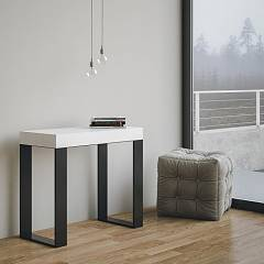 Itamoby Tecno Extendable console 90x77x40 cm - anthracite metal structure with wood effect top