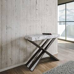 Itamoby Diago Small Extendable console 90x77x40 cm - anthracite metal structure with wood effect top