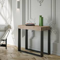 Itamoby Elettra Premium Extendable console 90x77x40 cm - anthracite metal structure with wood effect top