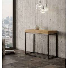 Itamoby Nordica Small Premium Extendable console 90x77x40 cm - anthracite metal structure with wood effect top