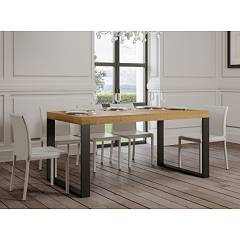 Itamoby Tecno 160 Allungabile A 264 Extendable table l. 160 x 90 - anthracite metal structure with wood effect top