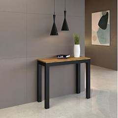 Itamoby Everyday Evolution Small Extendable console 90x77x40 cm - anthracite metal structure with wood effect top
