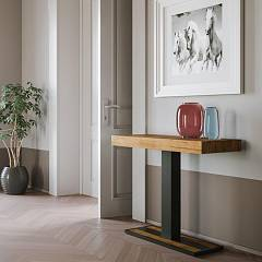 Itamoby Capital Small Premium Extendable console 90x77x40 cm - anthracite metal structure with wooden effect top