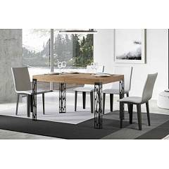 Itamoby Tavolo Ghibli 130 Allungabile A 234 Extendable table l. 130 x 90 - anthracite metal structure with wood effect top