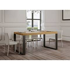 Itamoby Tecno Premium 160 Allungabile A 264 Extendable table l. 160 x 90 - anthracite metal structure with wood effect top