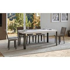 Itamoby Linea 160 Allungabile A 264 Extendable table l. 160 x 90 - anthracite metal structure with wood effect top