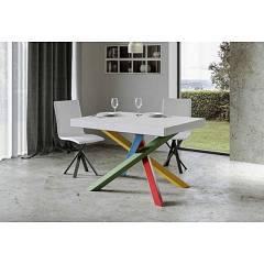 Itamoby Volantis Multicolor 4b 130 Allungabile A 234 Extendable table l. 130 x 90 with red / green / blue / yellow structure and wood effect top