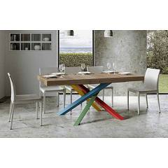 Itamoby Volantis Multicolor 4b 160 Allungabile A 264 Extendable table l. 160 x 90 with red / green / blue / yellow structure and wood effect top