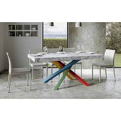 Itamoby Volantis Multicolor 4b 180 Allungabile A 284 Extendable table l. 180 x 90 with red / green / blue / yellow structure and wood effect top